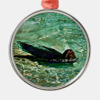 Sea Lion in Dreaming Aquatic World Rundes Silberfarbenes Ornament