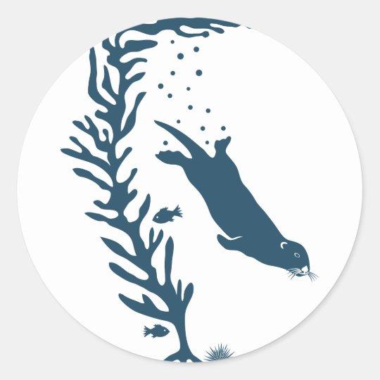 sea otter kelp forest california marine ocean runder aufkleber