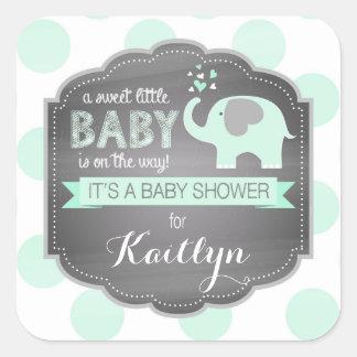 Seafoam Elefantdpt-Babyparty Quadrat-Aufkleber