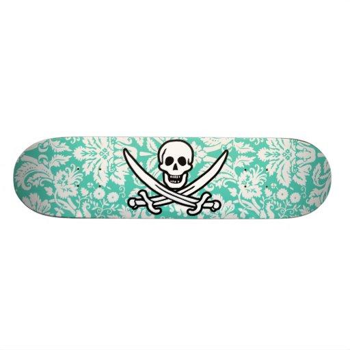 Seafoam grüne Damast-Piratenflagge Personalisiertes Deck