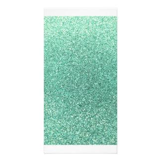 Seafoam grüner Glitter Individuelle Photo Karten