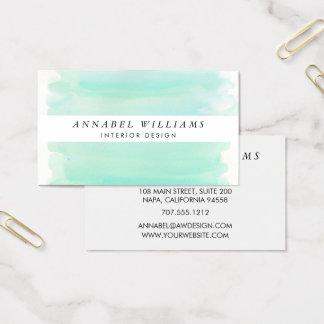 Seaglass Aquarell-Weiß-Streifen Visitenkarten