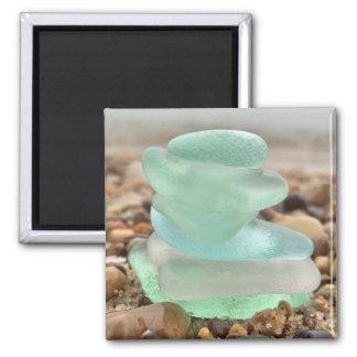 Seaglass und Sandmagnet Quadratischer Magnet