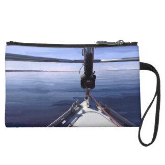 """Seaking der Horizont-"" Segel-Boot Mini Velour Clutch"