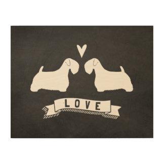 Sealyham Terrier-Silhouette-Liebe Holzdruck
