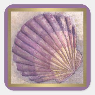 Seashell 2 quadratischer aufkleber
