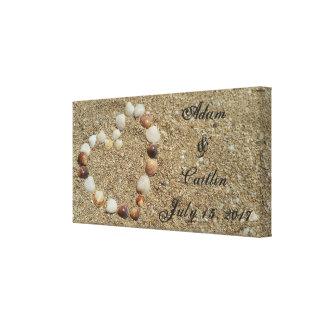 Seashell-Herz auf der Strand-Hochzeits-Leinwand Leinwanddruck