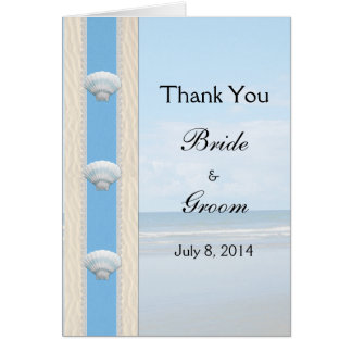 Seashell-Strand-Hochzeit danken Ihnen Karte