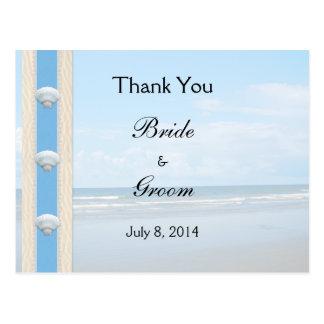 Seashell-Strand-Hochzeit danken Ihnen Postkarte