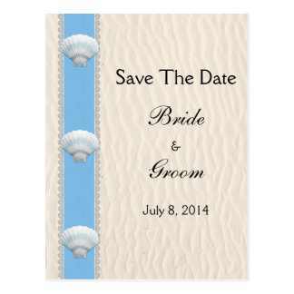 Seashell-Strand-Hochzeit Save the Date Postkarte