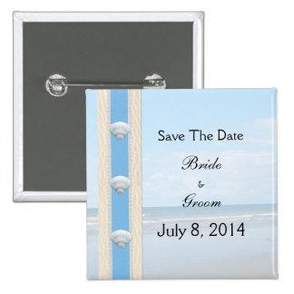 Seashell-Strand-Hochzeit Save the Date Quadratischer Button 5,1 Cm