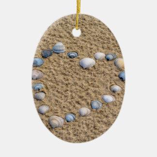 Seashellherz Keramik Ornament