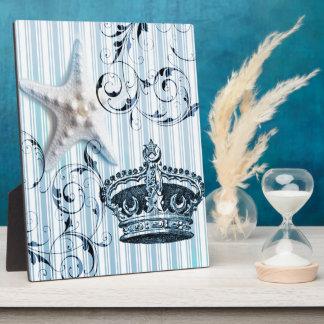 Seashellkrone Starfish blaue Streifen der Marine Fotoplatte