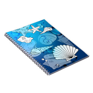 Seashells-Aqua-Notizbuch Spiral Notizblock