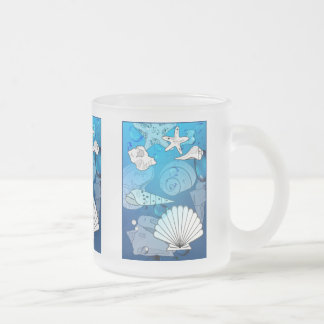 Seashells-Aqua-Ozean-Glas-Tasse Mattglastasse