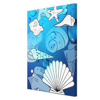Seashells-Aqua-Ozean-Leinwand-Kunst-Druck Leinwanddruck