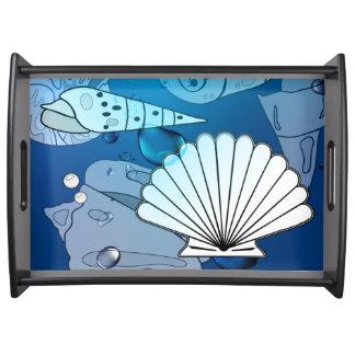 Seashells-Aqua-Ozean-Sommer-Serviertablett Tablett