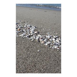 Seashells auf Sand Sommer setzen Draufsicht des Briefpapier