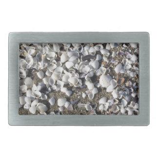 Seashells auf Sand Sommer setzen Draufsicht des Rechteckige Gürtelschnalle