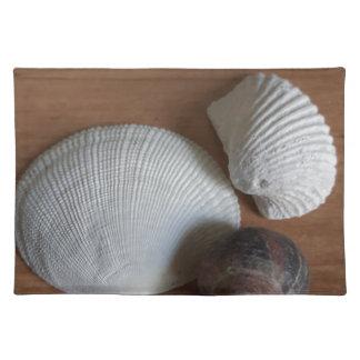 Seashells-hölzerner rustikaler Blick-Küstendekor Stofftischset