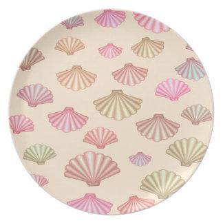 Seashells im Sand Melaminteller