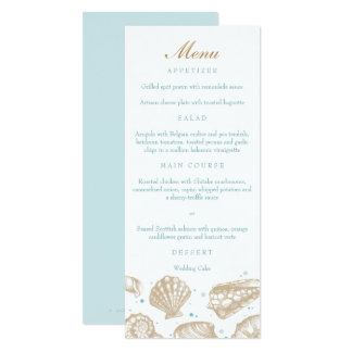 Seashells Seetan/Aqua-Strand-Hochzeits-Menü 10,2 X 23,5 Cm Einladungskarte