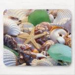 Seashells Starfish u. Strand-Glas Mousepad