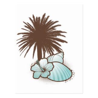 Seashells und palmtree 3 Blau Postkarte