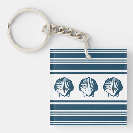 Seashells und Streifen Einseitiger Quadratischer Acryl Schlüsselanhänger