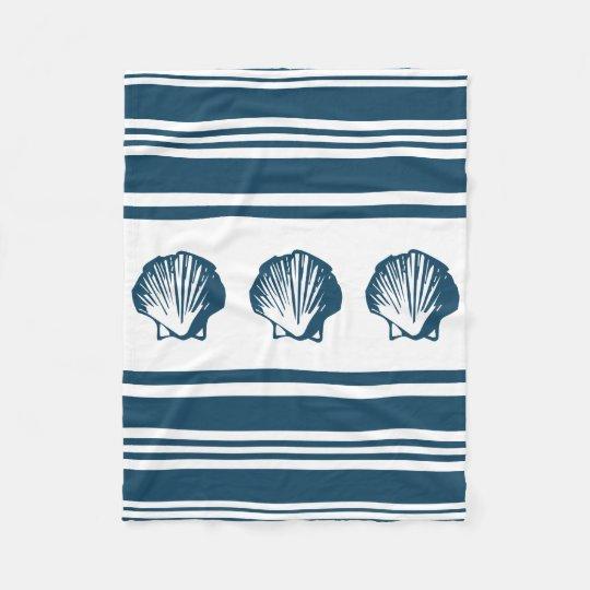 Seashells und Streifen Fleecedecke