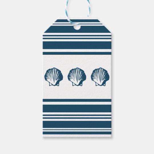 Seashells und Streifen Geschenkanhänger