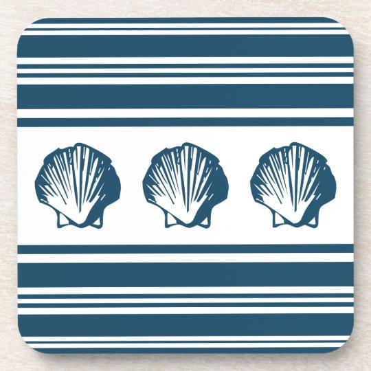 Seashells und Streifen Getränkeuntersetzer