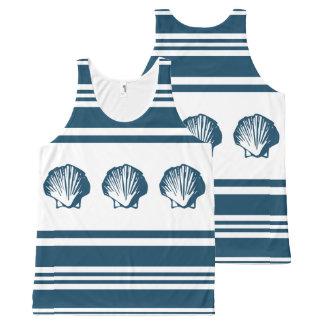 Seashells und Streifen Komplett Bedrucktes Tanktop