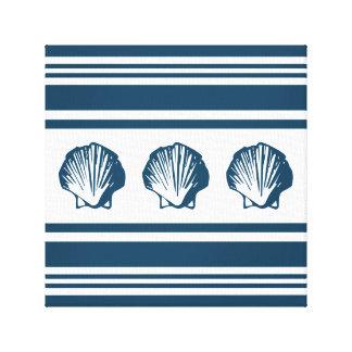 Seashells und Streifen Leinwanddruck