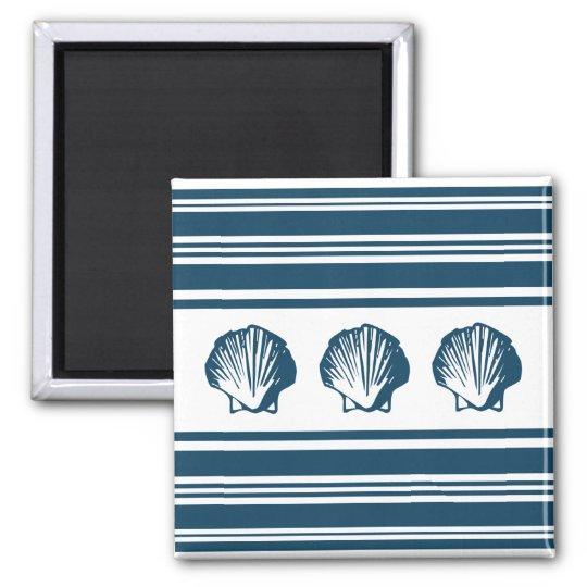 Seashells und Streifen Quadratischer Magnet