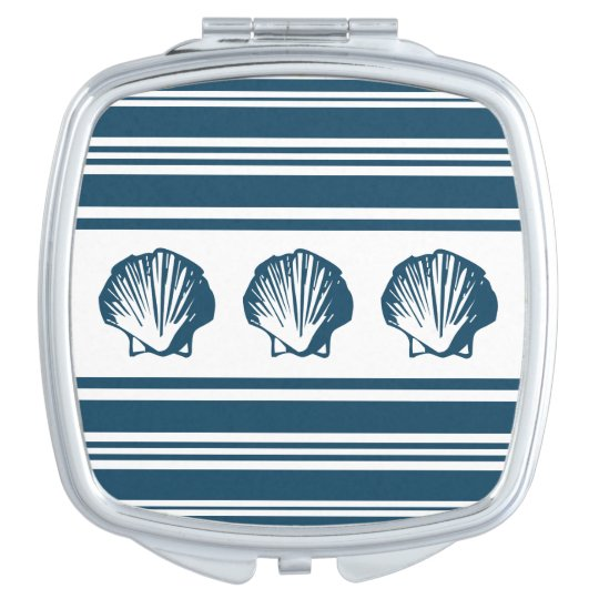 Seashells und Streifen Schminkspiegel