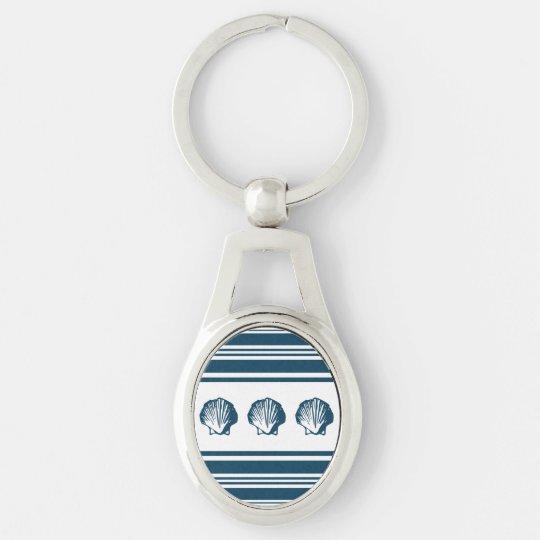 Seashells und Streifen Silberfarbener Oval Schlüsselanhänger