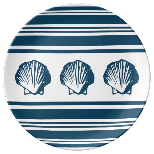 Seashells und Streifen Teller Aus Porzellan
