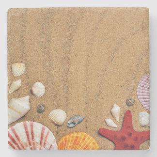 Seashellsstarfish-Sandy-Strand Steinuntersetzer