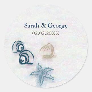 Seashellsstrand-Gastgeschenke Hochzeitsaufkleber Runder Aufkleber
