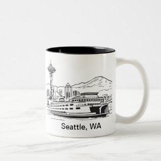 Seattle-Fähren-Washington-Staats-Linie Kunst Zweifarbige Tasse