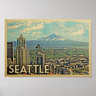 Seattle-Plakat-Vintages Reise-Plakat der Mount Poster
