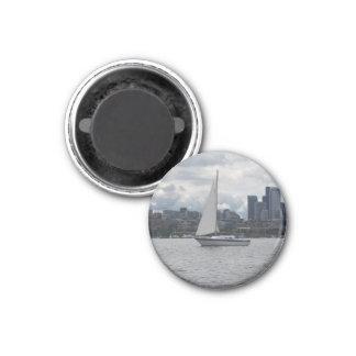 Seattle-Segelboot-Stadtbild-Magnet Runder Magnet 3,2 Cm