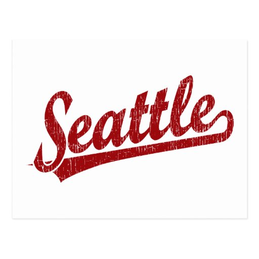 Seattle-Skriptlogo im Rot Postkarte