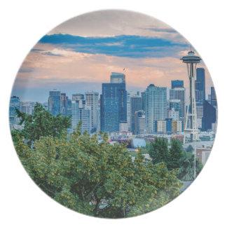Seattle-Skyline am Sonnenuntergang Melaminteller