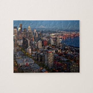 Seattle-Skyline an Dämmerung Puzzlespiel Puzzle
