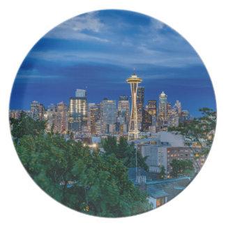 Seattle-Skyline an der Dämmerung Melaminteller