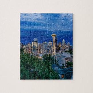 Seattle-Skyline an der Dämmerung Puzzle
