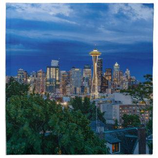 Seattle-Skyline an der Dämmerung Serviette