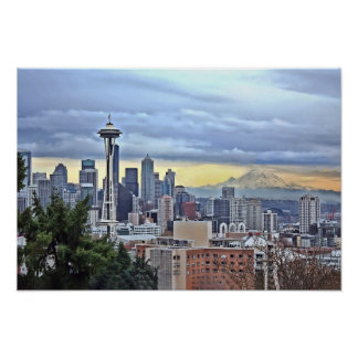 Seattle-Skyline im Nebel und im Regen Poster